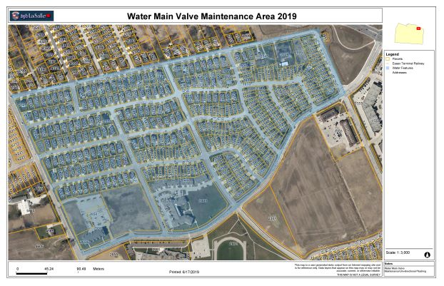 Watermain Valve Maintenance Area Map