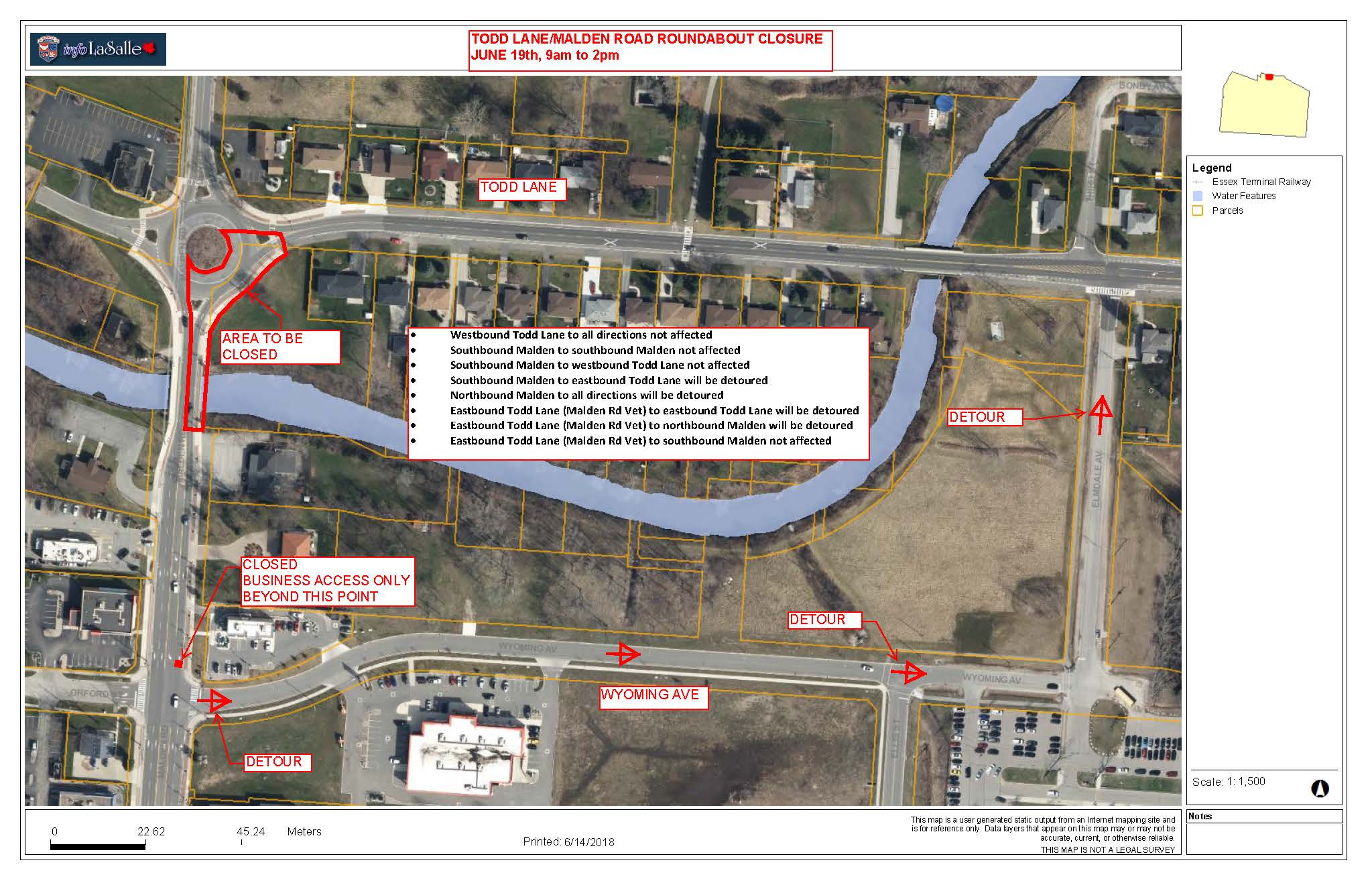Map of Closure of LaSalle Roundabout