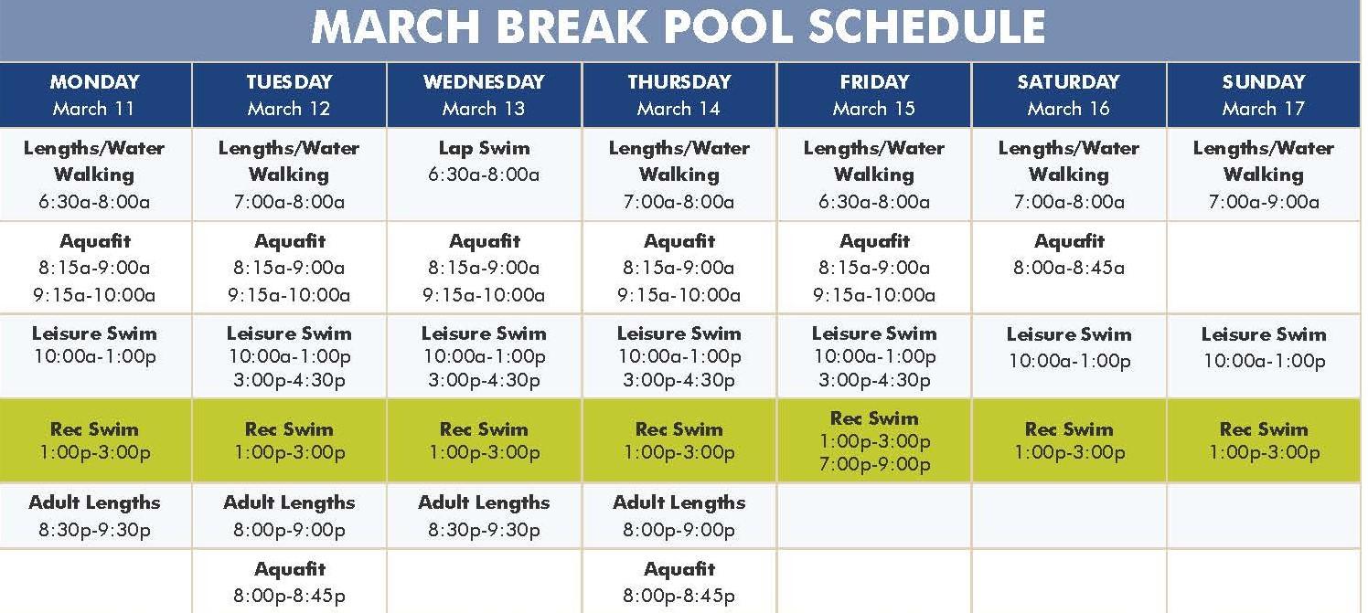 March Break Swim Schedule